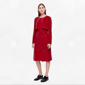 COS Layered Front Belted Dress in Red